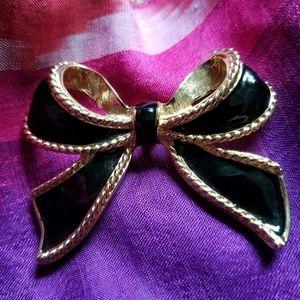 Vintage bow pendant enhancer KJL for Avon black